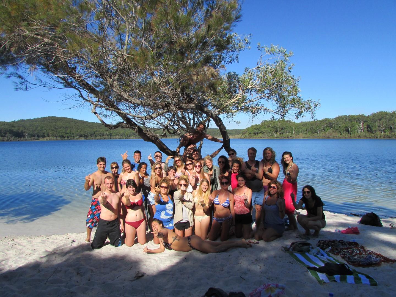 Erstes Gruppenfoto auf der Insel.
